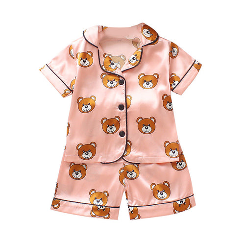 Kids Clothes Baby Boys Girls Cartoon Bear Print Outfits Pajama Sets