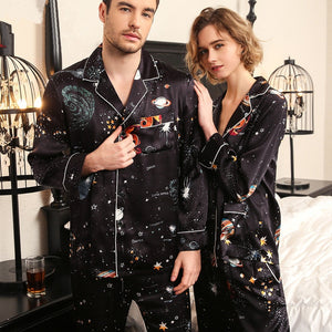 100% Silk Pajamas Set Luxury Men Womens Lovers