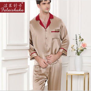 Autumn New 2019 Mens Silk long sleeve Pijamas Sets