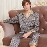 2020 New Fashion Men Genuine Two-Piece Sets Silk Pajamas