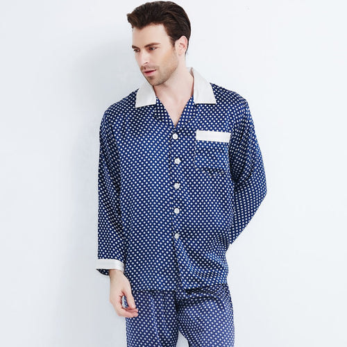 Silk Pajamas Male Long-Sleeve Pants