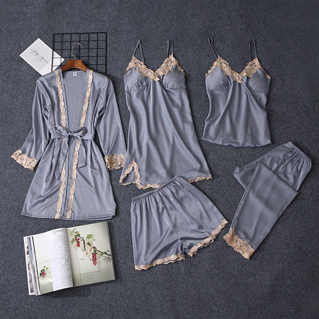 Women pajamas nightgown Silk sleepwear