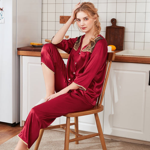 3/4 Sleeve Lace Patchwork Nightwear Satin Top Pants Set