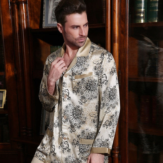100% Silkworm Sexy Genuine Silk Men's Pajamas
