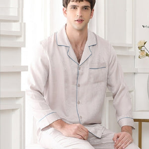 Autumn 2020 Male Stain Silk Sleepwear Night Wear Homewear Sets
