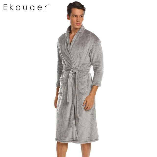 3/4 Men Belted Fleece Kimono Robes with Pockets