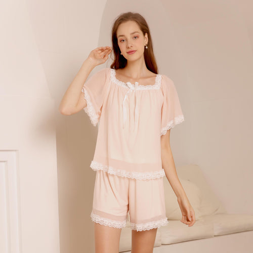 Knitted Lace V-neck Pajamas Women Sleepwear Soft PJs Set - PJS.Cool