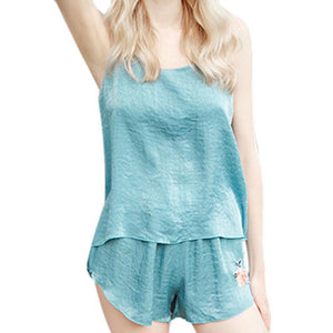 Summer Harness V-neck pyjamas women Top+Shorts
