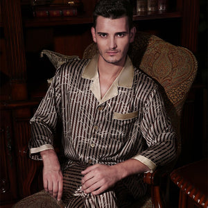 Men Pyjama Sets Silk Sleepwear Pajamas Sets