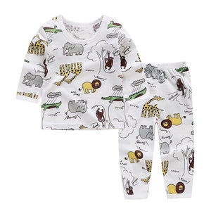 Cartoon Kids Pajama Sets Cotton Long Sleeve