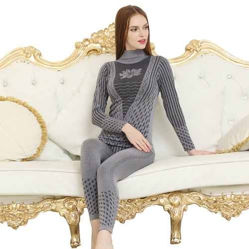 Fashion Striped Women's Thermal Underwear Set - PJS.Cool