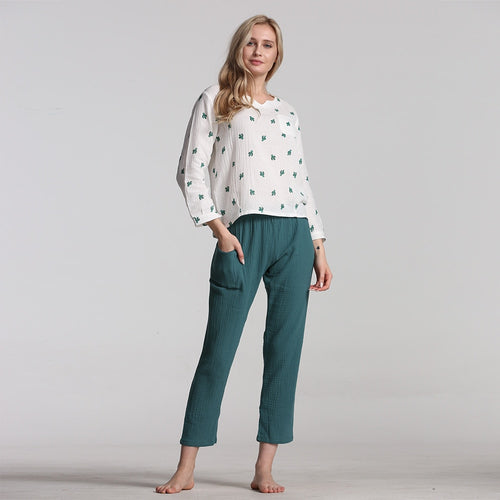 Women's Cotton Pyjamas Sleepwear Pajamas V-Neck - PJS.Cool