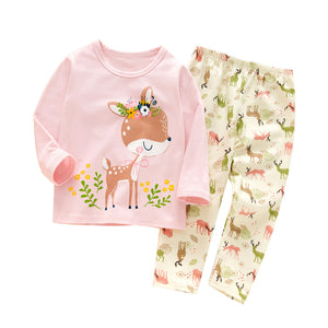 Baby Girls Pajamas Cute Cartoon Giraffe Long Sleeve