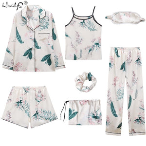 Pajamas Sets Stripe Printing Satin Silk Pajamas