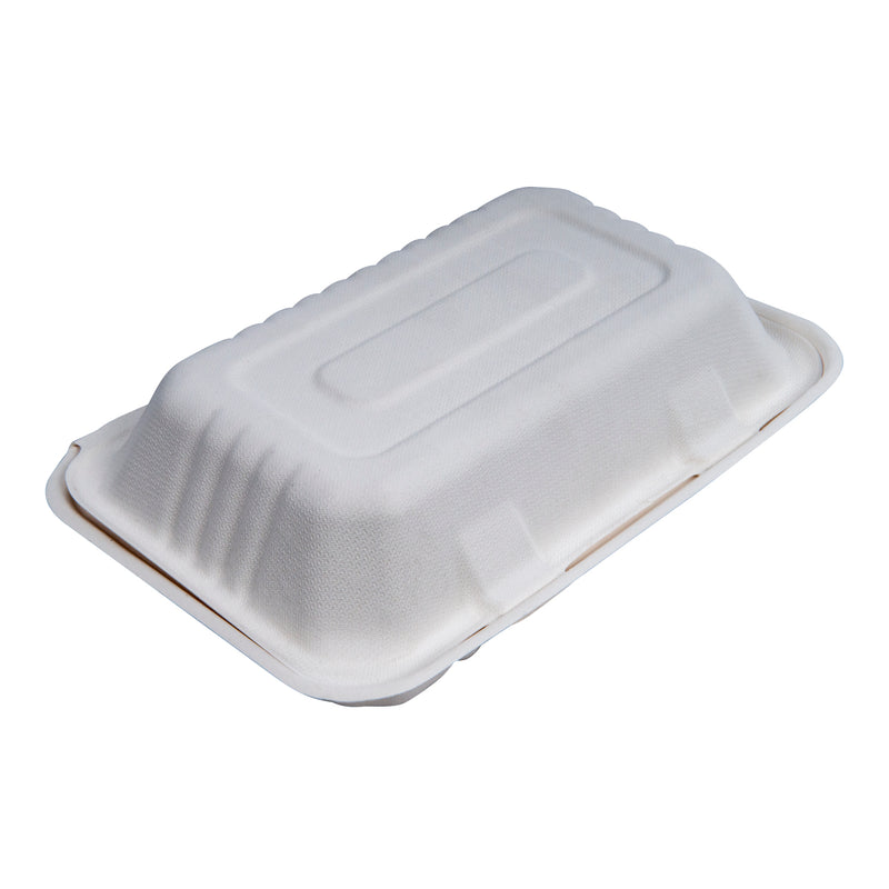 "Compostable Clamshell Hinged Food Containers - 9"" x 6"" x 3"" - 200/Case - TheBuyersClub.ca"