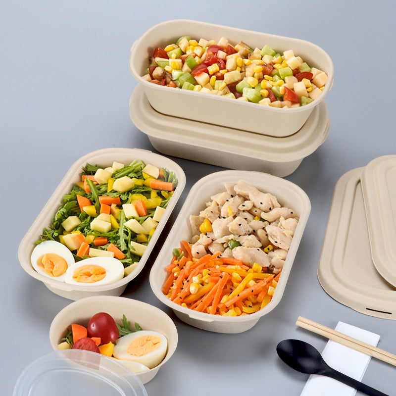 "BUYERSbasics 9"" x 5"" x 2.4"" Eco-friendly, Compostable 37 Oz Restaurant Takeout Food Container Box With Lid - TheBuyersClub.ca"