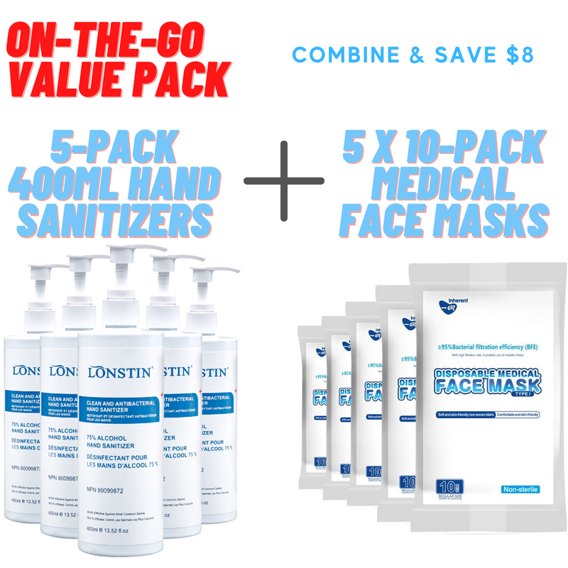 On-The-Go Value Pack - Mask + Hand Sanitizer Combo - TheBuyersClub.ca