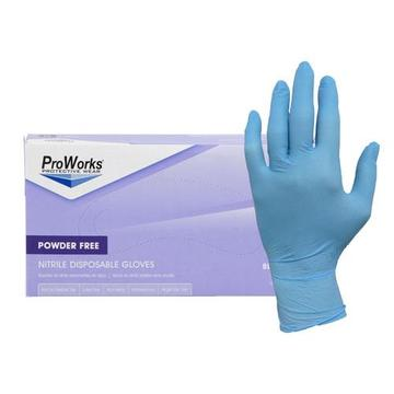 ProWorks® Nitrile Disposable Gloves, Powder Free, 3mil - Blue - Medium - 10 x 100/Box - TheBuyersClub.ca