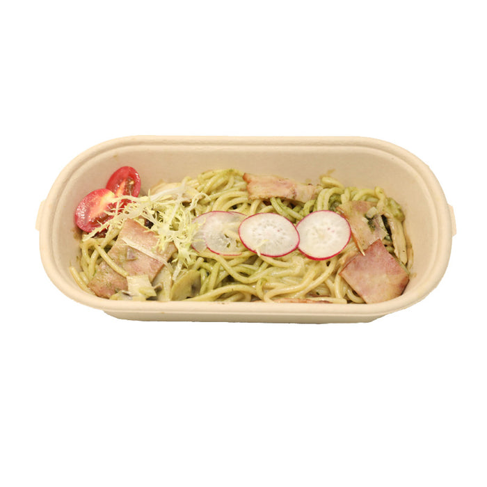 BUYERSbasics 700ml Biodegradable Disposable Bamboo Pulp Restaurant Takeout Food Container Box With Lid - Pack of 25 pcs