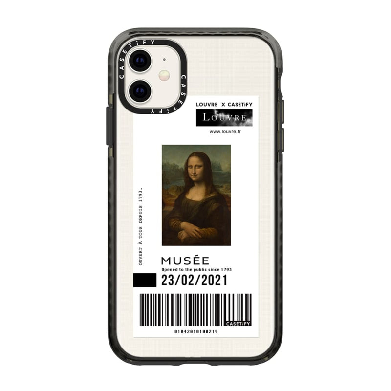 Coque Iphone impact noire ticket DE VINCI - Casetify x Louvre