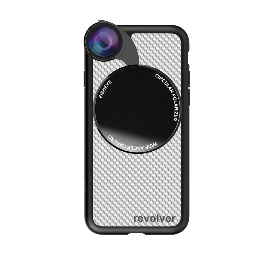 iPhone 7 / 8 Revolver M Series Lens Kit - Carbon Fiber (White)