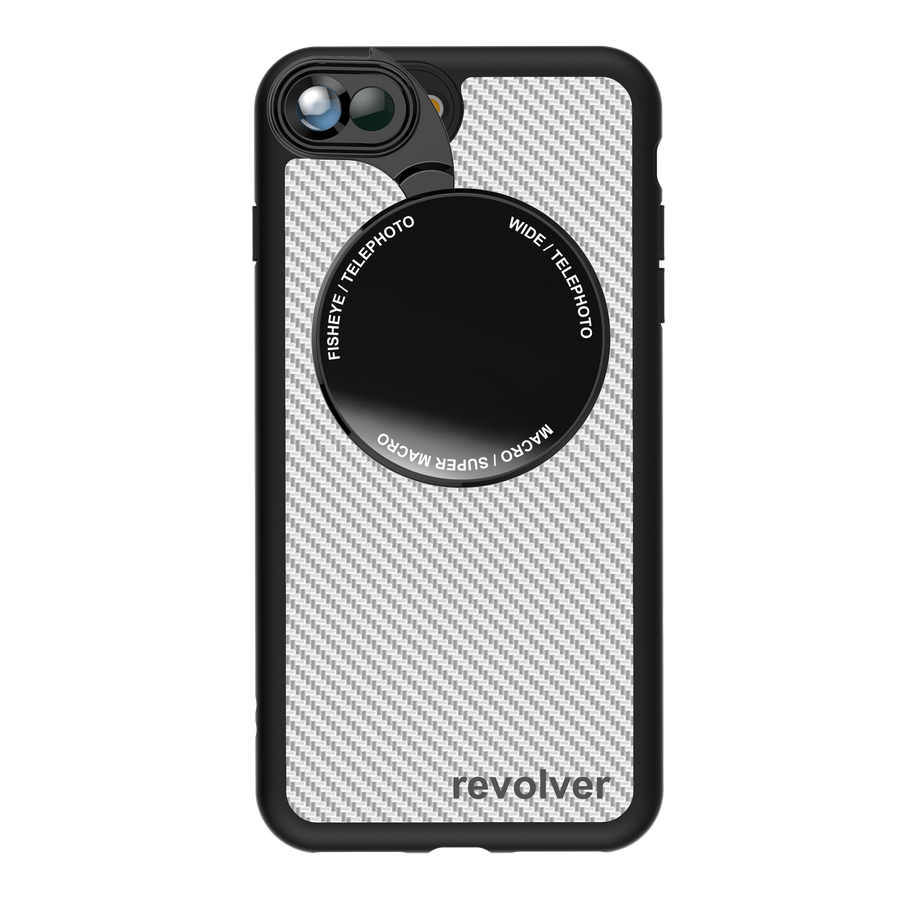 iPhone 7 Plus / 8 Plus Revolver M Series Lens Kit - Carbon Fiber (White)