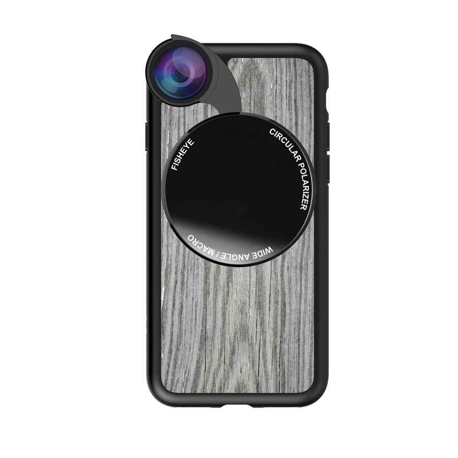 iPhone 7 / 8 / SE 2020 Revolver M Series Lens Kit - Grey Wood Pattern