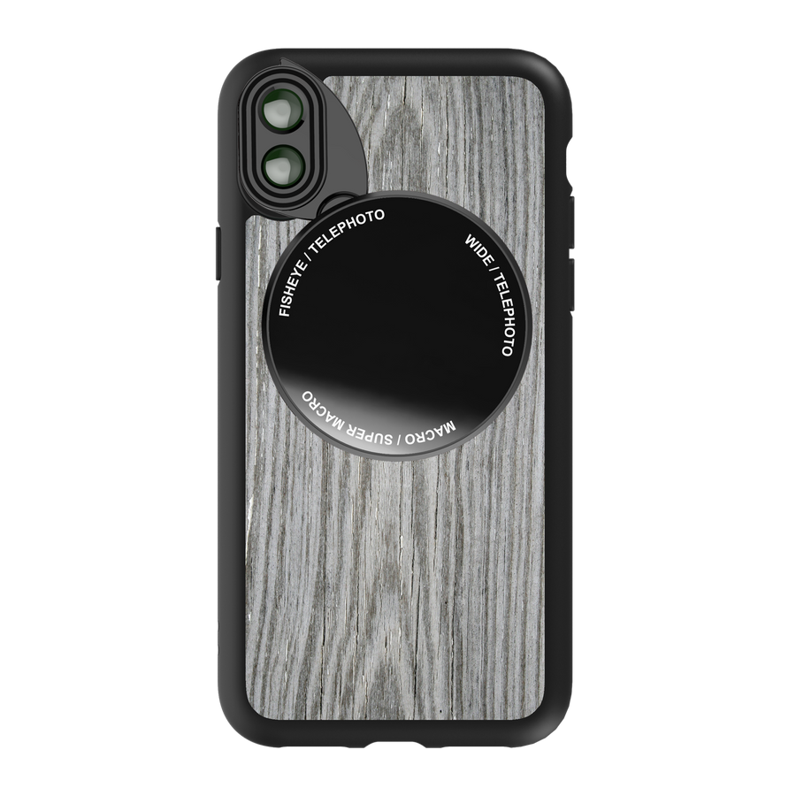 iPhone X / XS Revolver M Series Lens Kit - Grey Wood Pattern