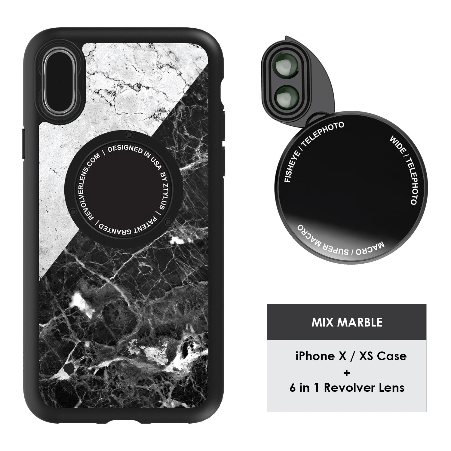 iPhone X / XS Revolver M Series Lens Kit - Mix Marble