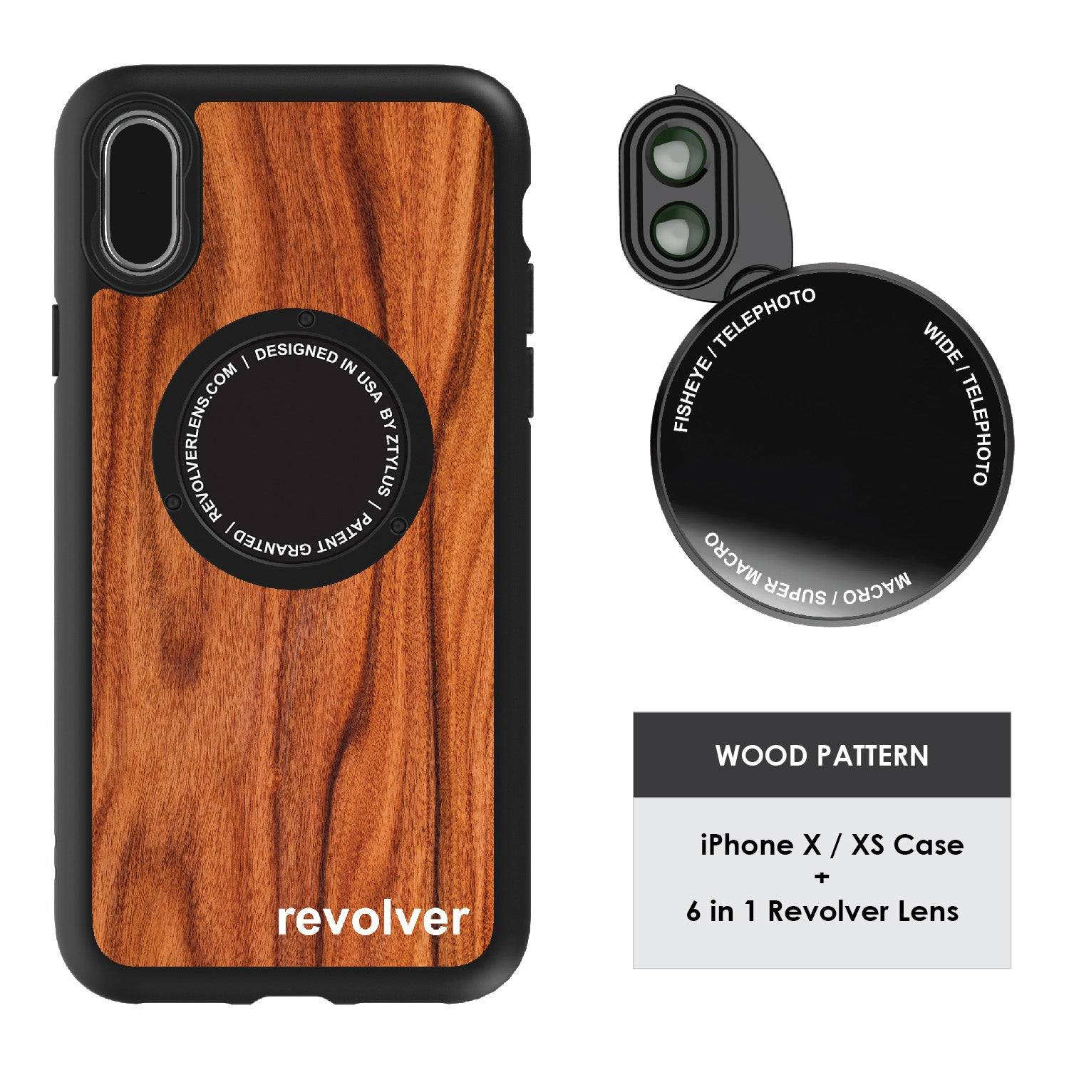 iPhone X / XS Revolver M Series Lens Kit - Wood Pattern