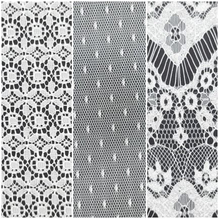 Three pack of lace that can be used for airbrushing or encapsulation. Three colors: white, soft white and ivory. 7cmX15cm or larger per sheet.