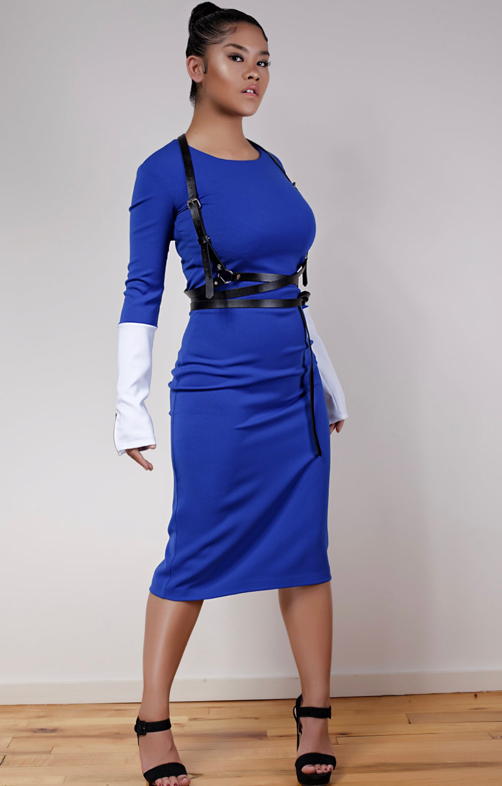 Royal Blue and White Combo Dress