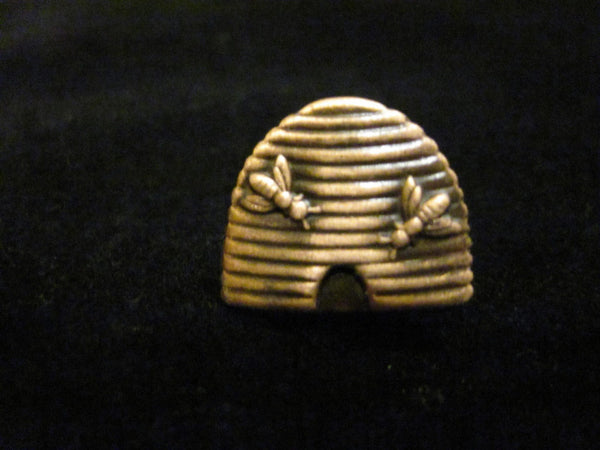 Gold Beehive Pin with Two Bees