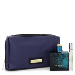 Versace Eros by Versace Gift Set 3.4 oz Eau De Toilette Spray + 0.3 oz Mini EDT Spray in Pouch for Men - My Brooklyn