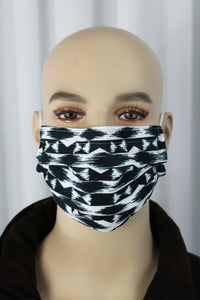 Black Aztec Pleated Mask