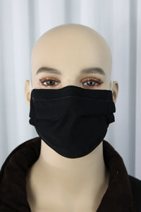 Solid Black Pleated Mask
