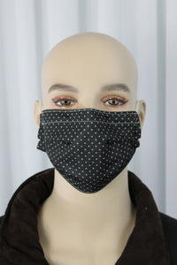 Black Polka Dot Pleated Mask