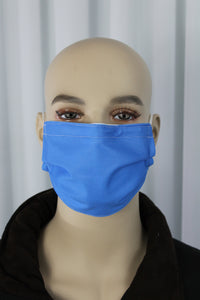 Solid Royal Blue Pleated Mask