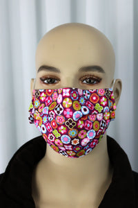 Floral Dots Pleated Mask