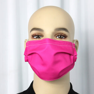Solid Hot Pink Pleated Mask