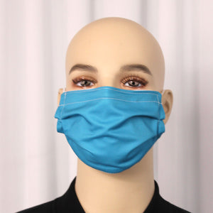 Solid Teal Pleated Mask