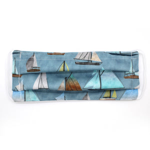 Watercolor Sailboats Pleated Mask