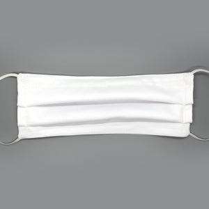 Solid White Pleated Mask