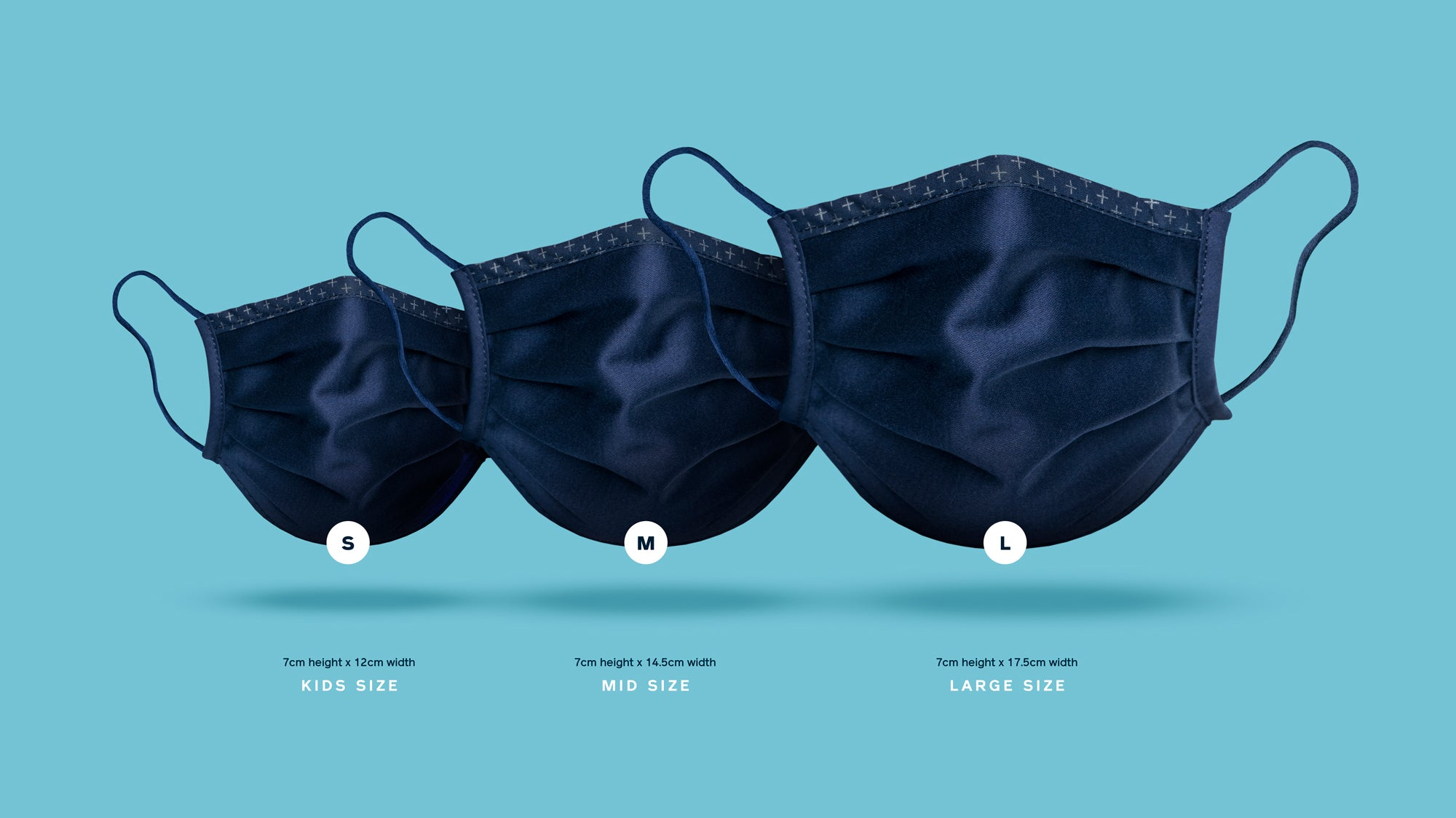 ISKO Vital face covers in three different sizes