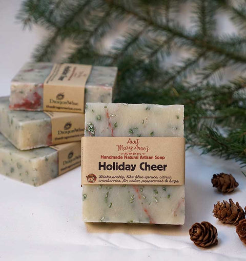 Handmade Natural Soap Bar, Vegan, Holiday Cheer, Cold Process, Olive Oil & Shea Butter Body Soap