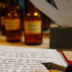 open notebook and fountain pen showing formulation notes written in french with bottles and blotters in soft focus background