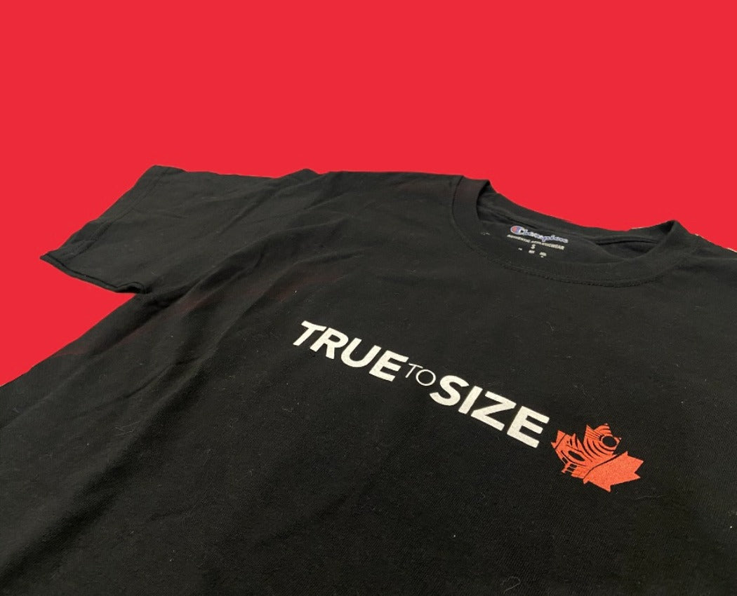 'TRUE TO SIZE' CHAMPION T-SHIRT BLACK