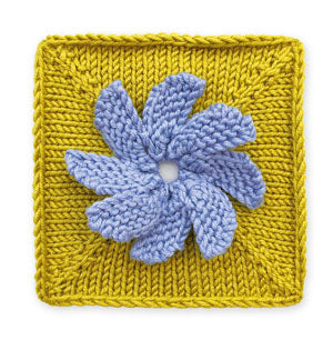 Knit Floral Block: Forget Me Not