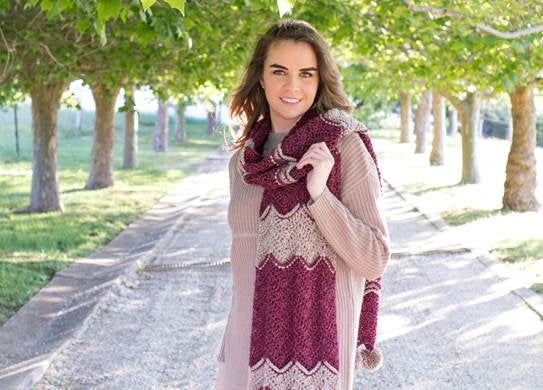 Crochet Kit - Frosted Berry Chevron Scarf