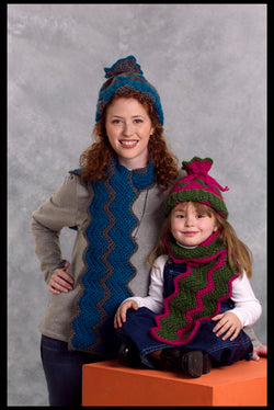 Mother-And-Child Tube Hat & Scarf (Crochet)